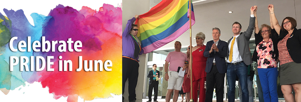 Celebrate Pride in June - flag raising in front of City Hall