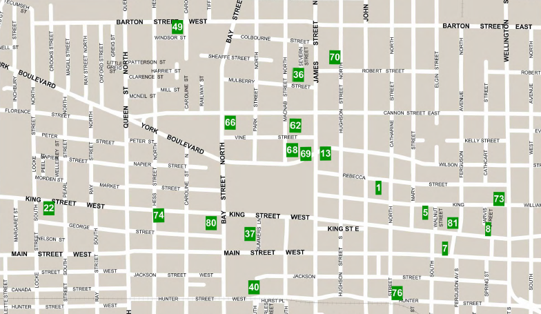 Map of Parking Lots in Downtown Hamilton