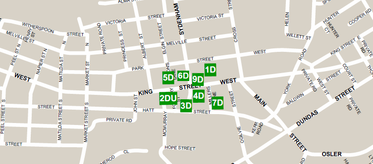 Map of Parking Lots in Dundas