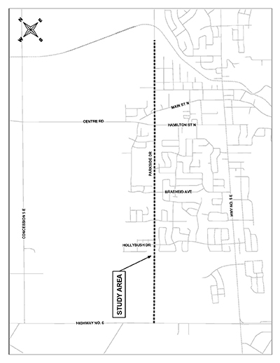 Map of the Parkside Drive Improvements EA