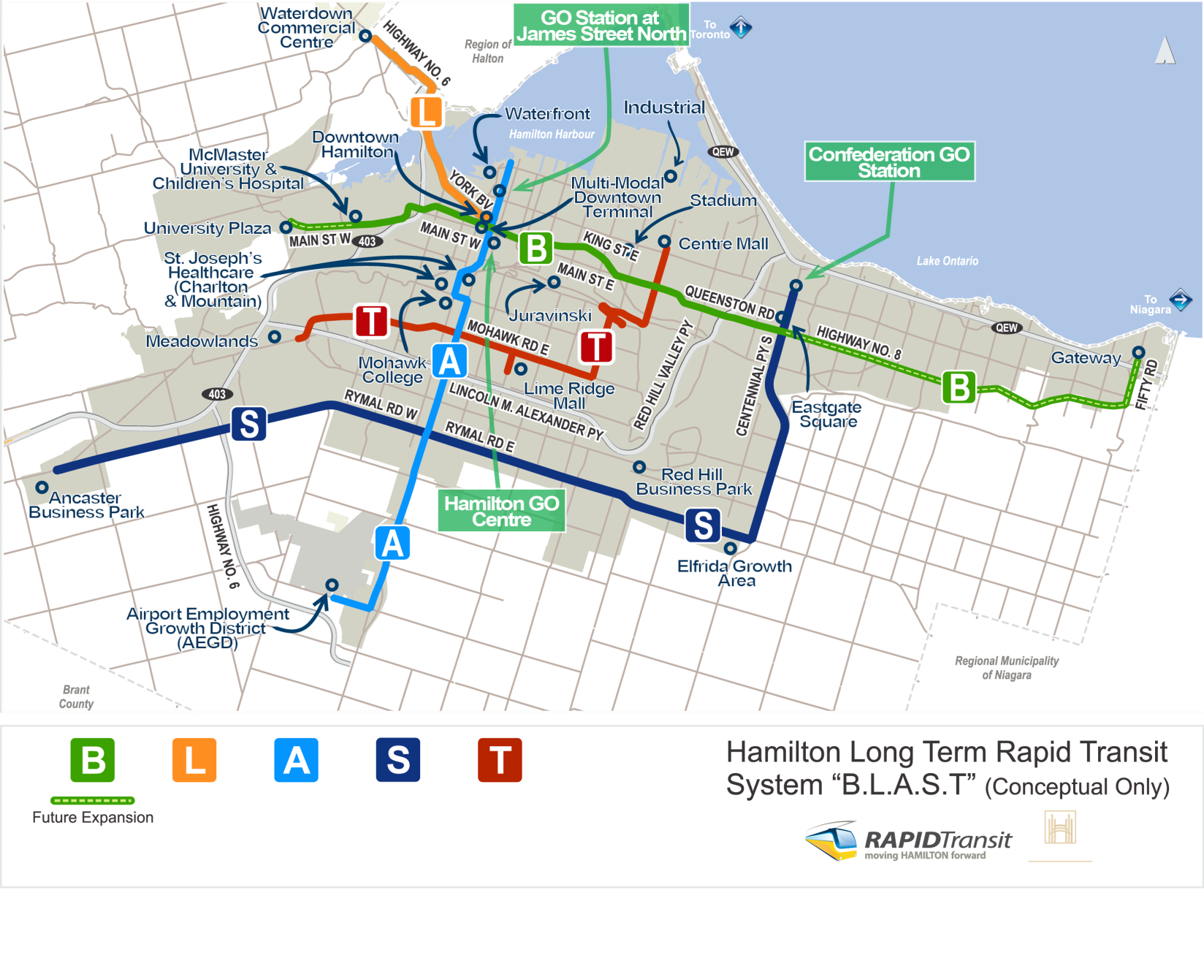 Ten Year Local Transit Strategy City Of Hamilton Ontario Canada Network Diagram Small Office Proposed Rapid Corridors