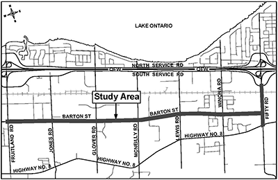 Study Area for the Barton Street & Fifty Road Improvements EA