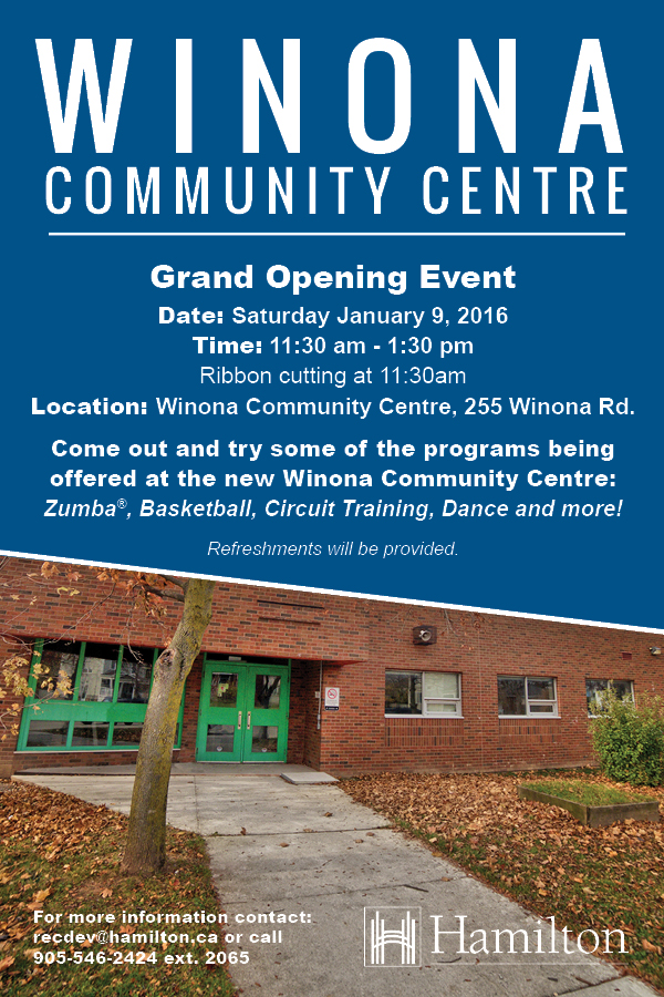 Winona Community Centre Grand Opening Event - Saturday January 9 at 11:30 am
