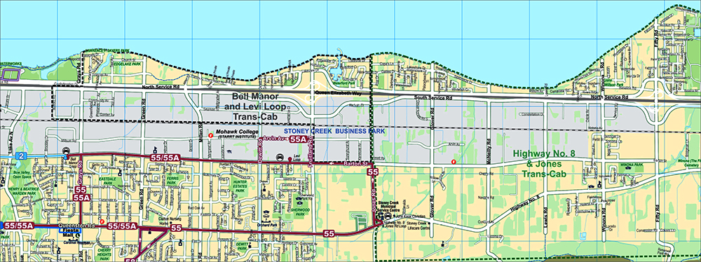 Stoney Creek Trans Cab Service Zone Map