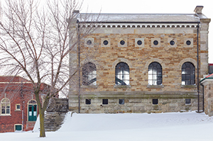 Exterior view of Steam Museum in winter