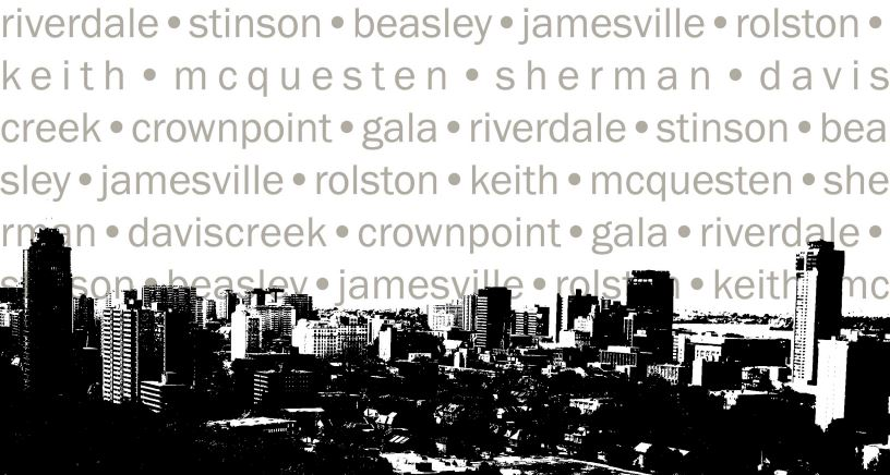 Black and white photo of the city with neighbourhood names listed