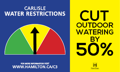 Carlisle water restrictions road side sign - reduction