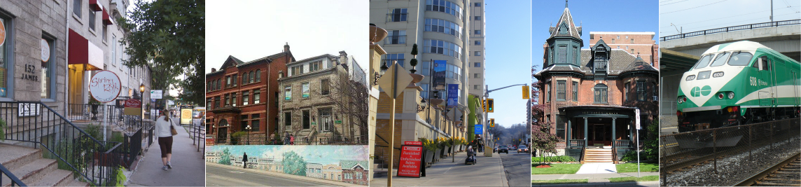 Image of James Street South Sidewalk, wall painted mural, a residence, and Go train
