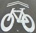 Bike Safety - Sharrow Symbol on Road