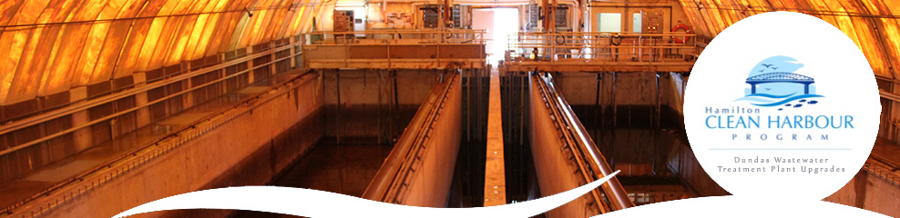 Hamilton Clean Harbour Program - Dundas Wastewater Treatment Plant Upgrades. Interior photo of the treatment plant.