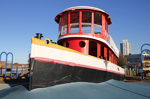 Tug boat playground at Pier 4 Park