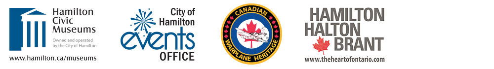 Event sponsor logos: Hamilton Civic Museums, Hamilton Events Office, Canadian Warplane Heritage Museum, RTO