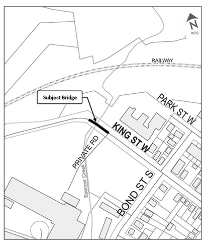 Location map of the King Street Bridge #248 in Dundas