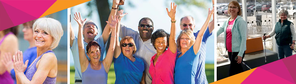 Seniors Recreation: Lady doing yoga, mixed group of men and women with arms raised, 2 women nordic walking