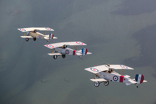 3 Niewport 11 - WW1 Fighter Planes in Flight