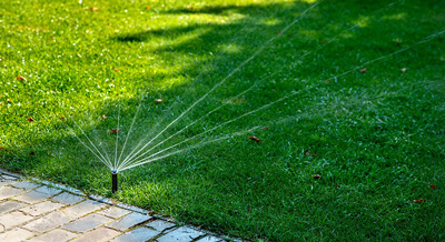In ground sprinkler watering lawn