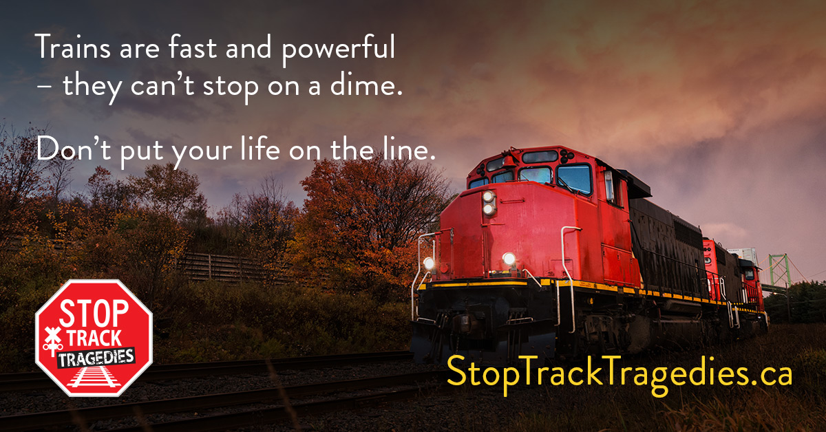 """Train with text""""Train are fast and powerful - they can't stop on a dime. Don't put your life on the line."""""""