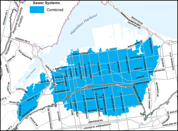 Map of the Combined Sewer System in the City of Hamilton