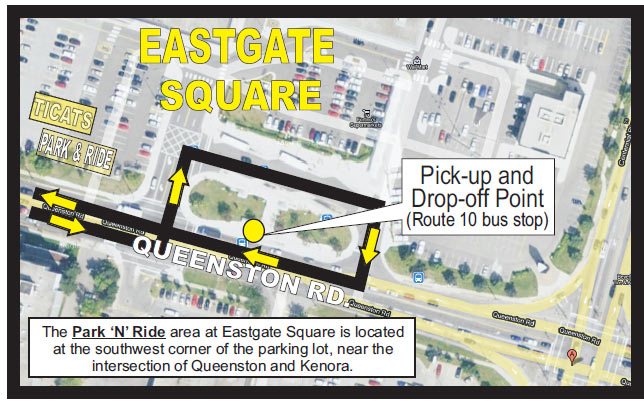 Ticats express route at Eastgate Square