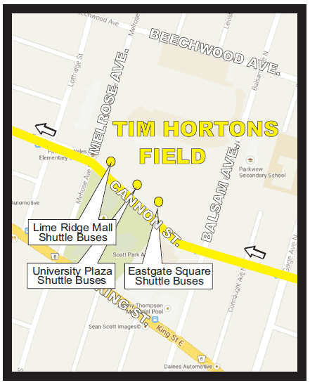 Tiger-Cats Express Shuttle pick-up and drop-off map