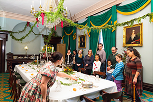 Interior image of Dundurn during Christmas