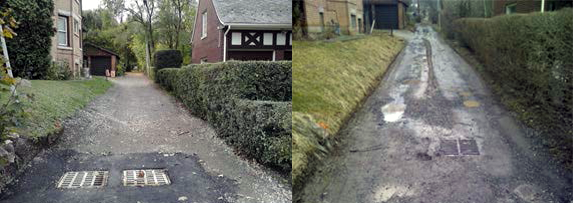 Comparison of Hillcrest Alley before and after