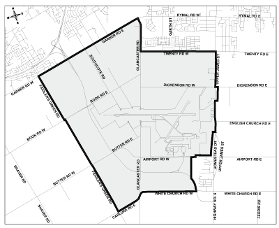 Map of the Airport Employment Growth District Secondary Plan Area