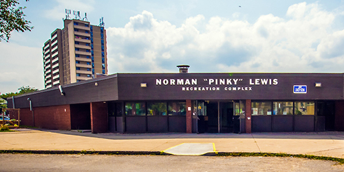Exterior building shot of Norman Pinky Lewis
