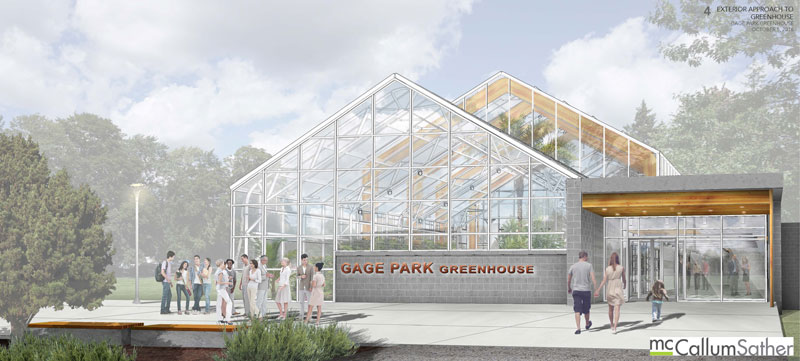 Architectural rendering of the upcoming Gage Park Greenhouse