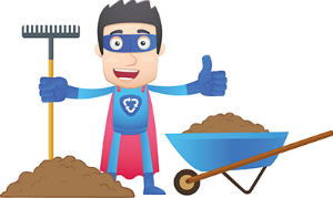 Illustration of a superhero wearing a recycling costume holding a rake, standing beside a pile of compost and wheel barrow