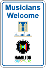 Example of the Musicians Welcome sign to display on dashboard in loading zones