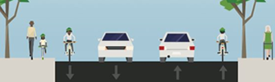 Image of bike lane design on Bay Street between Barton and Stuart
