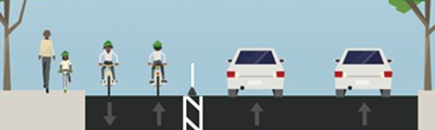 Image of bike lane design on Bay Street between Hunter to Cannon
