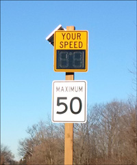 Image of Dynamic Speed Sign installed on the road