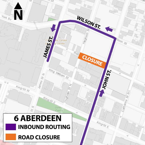 Detour map of Route 6 Aberdeen
