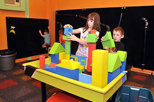 Children playing with blocks at Hamilton's Children Museum