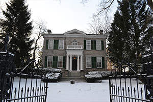 Exterior shot of Whitehern in the winter snow