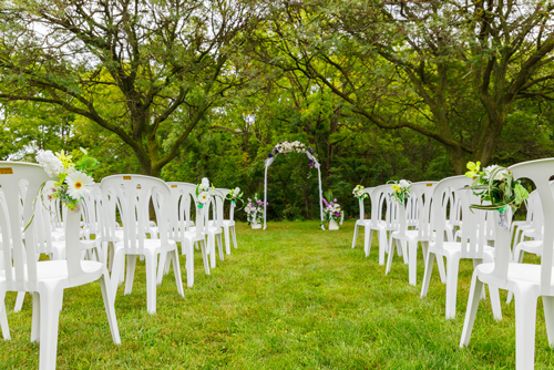 Outdoor wedding setup at Battlefield park