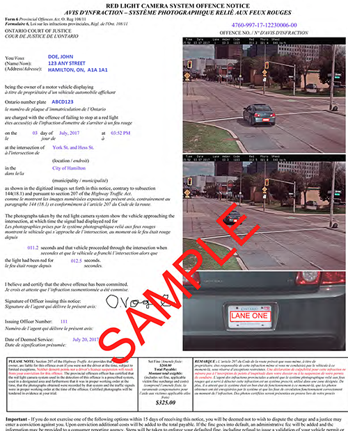 Sample Ticket   Red Light Camera System Offense Notice Gallery