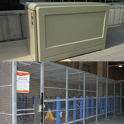 Examples of secure bike parking facilities in Hamilton