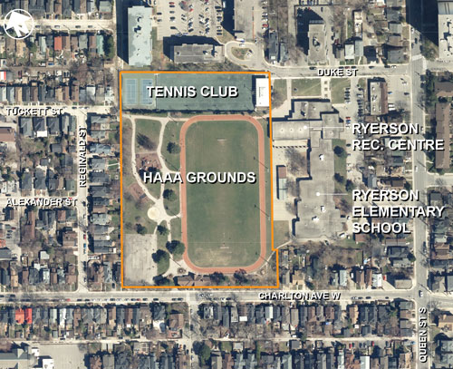 Location map for the Hamilton Amateur Athletic Association Grounds