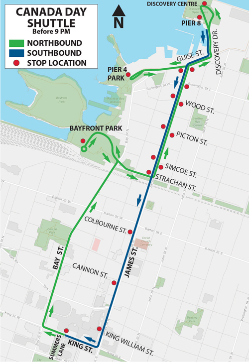 Canada Day Shuttle Map