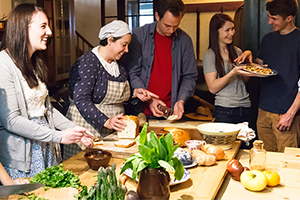 Guests preparing food at Dundurn kitchen