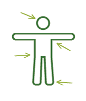 Illustration of person with arrows pointing to areas to check for ticks.