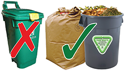 Image of green bin and yard waste containers