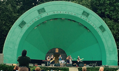 Image of band on Gage Park band shell