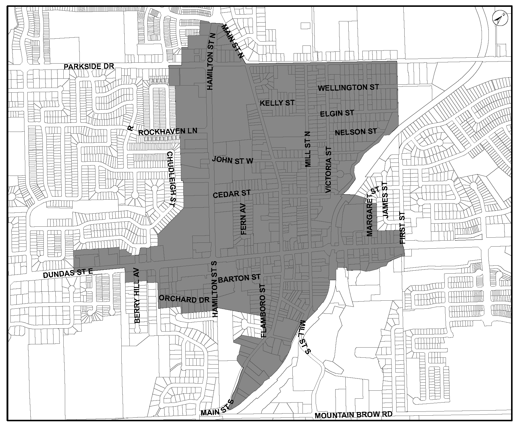 Location map of Waterdown Community Node