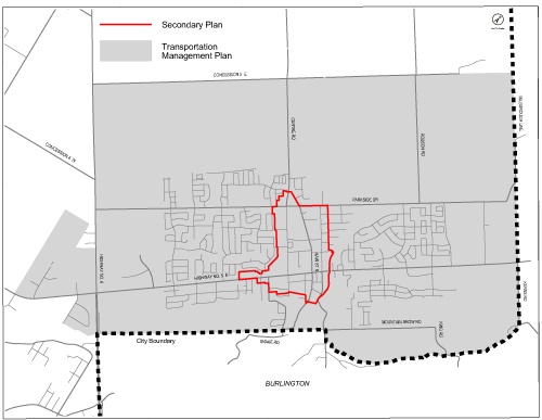 Map of the Waterdown Community Node Transportation Management Plan