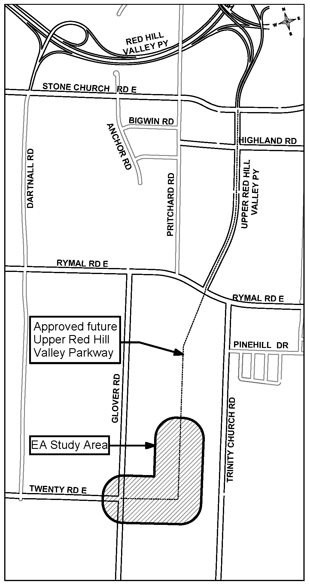 Location map of Twenty Road East and Upper Red Hill Valley Parkway Extensions EA
