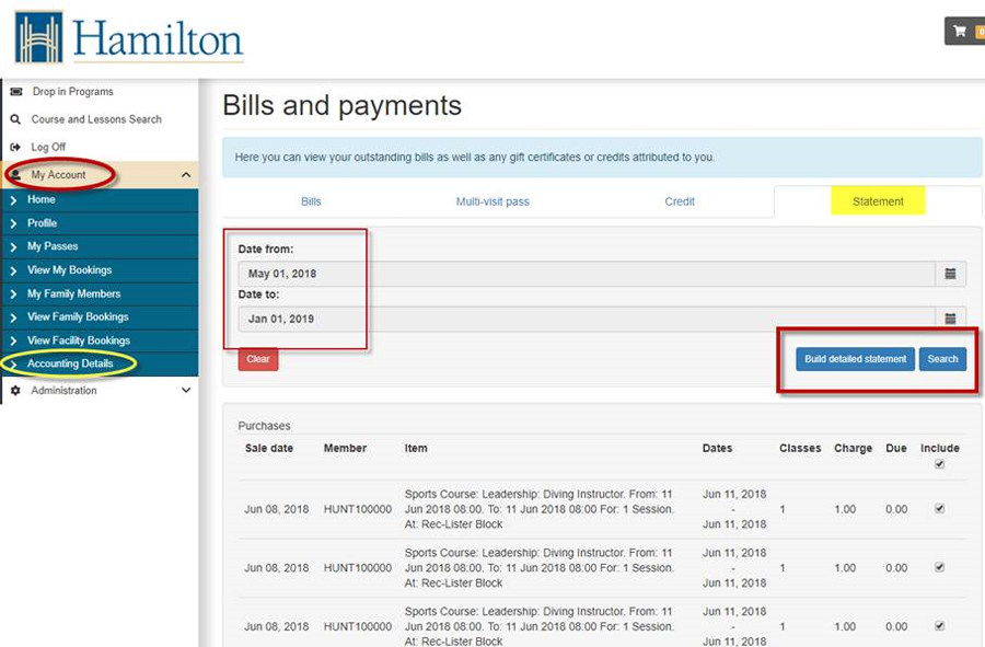 Screenshot of instructions to download tax receipts